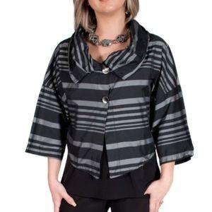 LUUKAA Striped Crop Boxy Artsy Black Jacket size 4